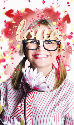 Exuberant Photograph - Romantic Female Nerd In A Celebration Of Love by Jorgo Photography - Wall Art Gallery