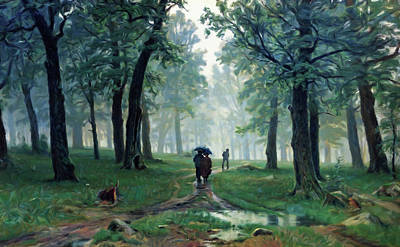 Painting - Romantic Forest Walk In The Rain by Georgiana Romanovna