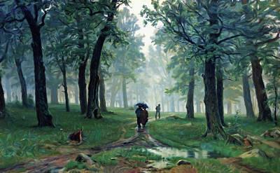 Painting - Romantic Forest Walk In The Rain by Georgiana Romanovna