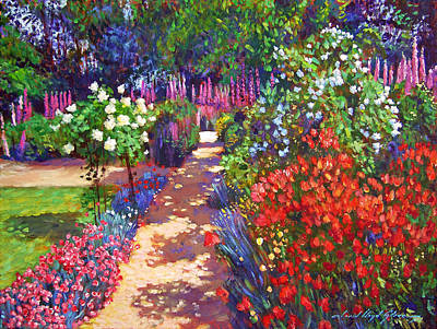 Romantic Garden Walk Print by David Lloyd Glover