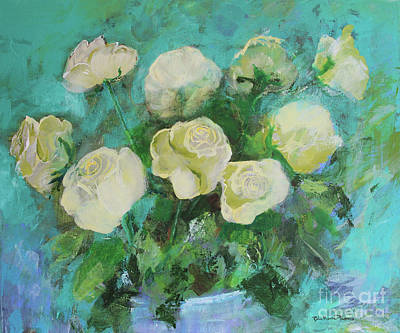 Painting - Romantic Green Tea Roses By Robin Maria Pedrero by Robin Maria Pedrero