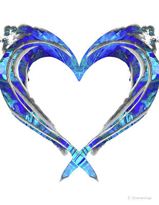 Painting - Romantic Heart Art - Big Blue Love - Sharon Cummings by Sharon Cummings