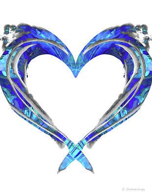 Family Beach Wedding Wall Art - Painting - Romantic Heart Art - Big Blue Love - Sharon Cummings by Sharon Cummings