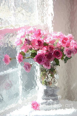Romantic Impressionistic Pink Roses - French Roses In Vase Shabby Chic Cottage Pink Floral Art Art Print