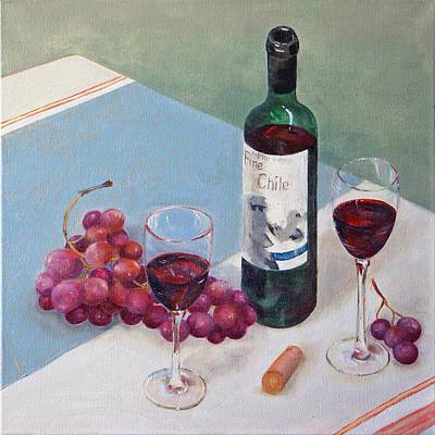 Table Cloth Painting - Romantic Invitation by Irene Vital