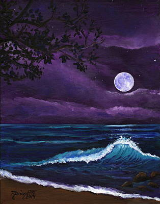 Painting - Romantic Kauai Moonlight by Marionette Taboniar