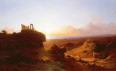 Temple Painting - Romantic Landscape by Antal Ligeti