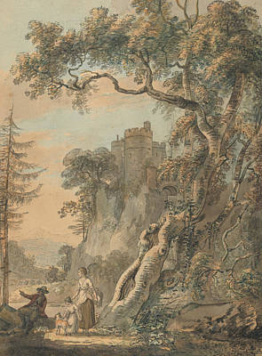Painting - Romantic Landscape - Peasants At The Foot Of A Castle On A Crag by Paul Sandby