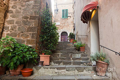 Narrow Photograph - Romantic Narrow Street And Stairs In Montepulciano, Tuscany, Italy by Michal Bednarek