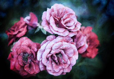 Mixed Media - Romantic Night Roses by Georgiana Romanovna