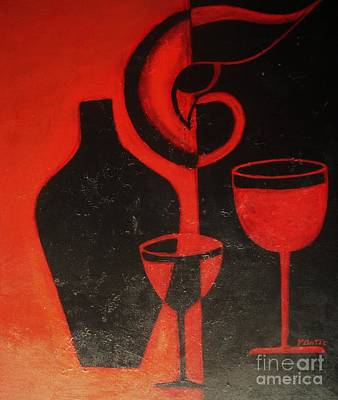 Wine-bottle Painting - Romantic Night by Vesna Antic