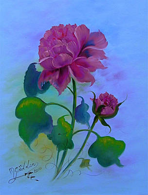 Romantic Peoni Art Print by Micheal Giddens
