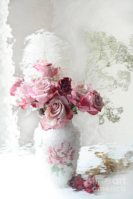 Romantic Pink Red Roses Impressionistic Floral - Shabby Chic Romantic Pink And Red Roses Art Print by Kathy Fornal