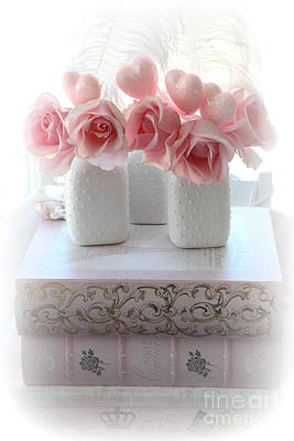 Pink And White Art Photograph - Romantic Pink Shabby Chic Roses Pink Books Hearts Valentine Decor  by Kathy Fornal