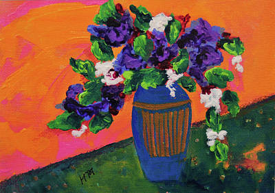 Painting - Romantic Purple Flowers In Blue Vase by Haleh Mahbod