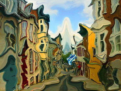 Painting - Romantic Quebec Alley - Fantasy Art by Art America Gallery Peter Potter