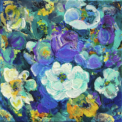 Painting - Romantic Rose Garden Purple And Blue by Haleh Mahbod