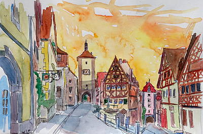 Trussed Painting - Romantic Rothenburg Tauber Germany Frankonia Sunset Watercolor by M Bleichner