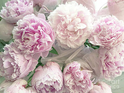 Photograph - Romantic Shabby Chic Pastel Pink Peonies Bouquet - Romantic Pink Peony Flower Prints by Kathy Fornal