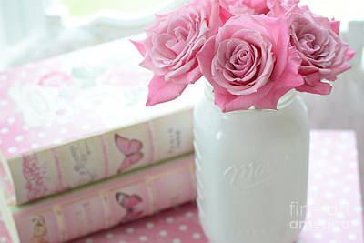 Romantic Shabby Chic Pink And White Roses - Pink Roses In White Mason Jar Print by Kathy Fornal