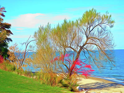 Romantic Skies Beach Tree Art Print