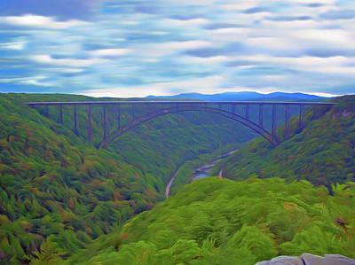 Photograph - Romantic Skies New River Bridge by Aimee L Maher Photography and Art Visit ALMGallerydotcom