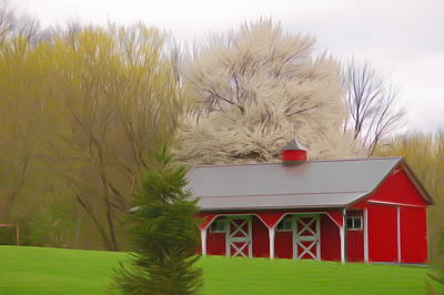 Photograph - Romantic Skies Red Barn by Aimee L Maher ALM GALLERY