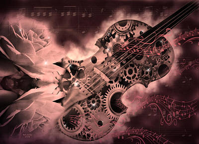 Romantic Stemapunk Violin Music Art Print