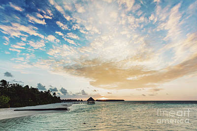 Photograph - Romantic Sunset On Exotic Island On Maldives by Michal Bednarek