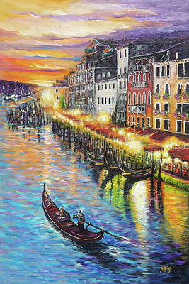 Romantic Venice Sunset Original by Nathan Lewis