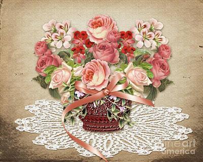 Doily Digital Art - Romantic Victorian Roses by Judy Brand