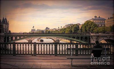 Photograph - Romantic View Seine River Bridge Man Alone Paris  by Chuck Kuhn
