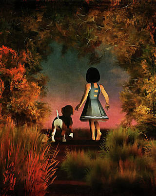 Romantic Walk In The Woods Art Print