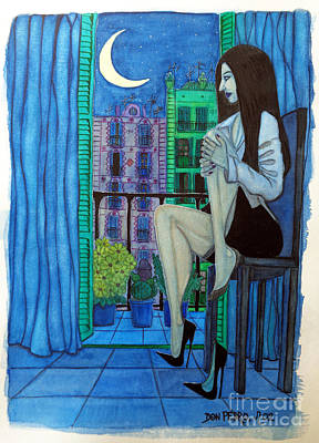 Art Print featuring the painting Romantic Woman At Balcony by Don Pedro De Gracia