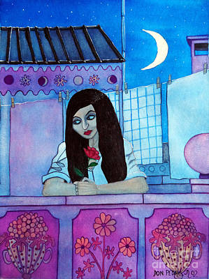 Romantic Woman In The Terrace At Night Art Print by Don Pedro De Gracia