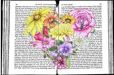 Mixed Media - Antique Romantic Novel Florals by Heidi Kriel