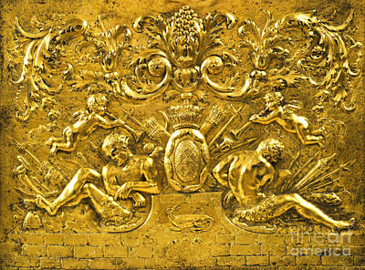 Digital Art - Romanticized Africa European Baroque Period Gilt Repousse Copper Armorial Panel With Putti by Unknown