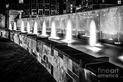 Romare Bearden Park Fountain Black And White Photo Art Print