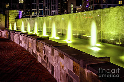 Romare Bearden Park Fountain In Charlotte Nc Print by Paul Velgos