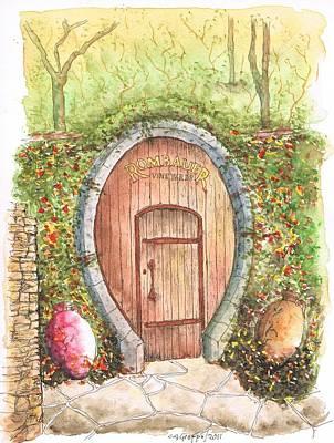 Rombauer Vineyard Entrance Door, California Art Print