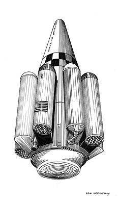 Drawing - Rombus Heavey Lift Reusable Rocket by Jack Pumphrey