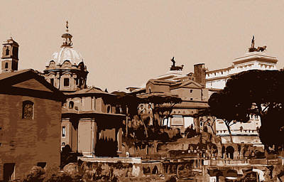 Painting - Rome, A View From The Imperial Forums by Andrea Mazzocchetti