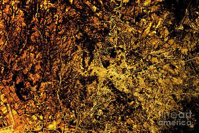 Landscape Digital Art - Rome Abstract City Map Golden by Frank Ramspott