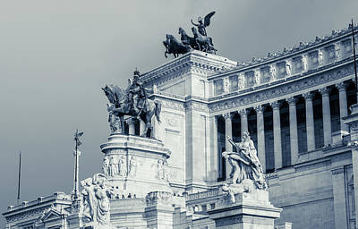 Photograph - Rome - Altare Della Patria Bw by Andrea Mazzocchetti