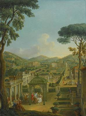 Extensive Landscape Painting - Rome An Extensive Landscape With Villas And by MotionAge Designs