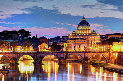 Painting - Rome And The Vatican City At Night  by Andrea Mazzocchetti