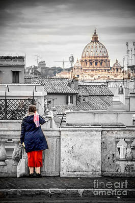 Gravure Photograph - Rome Canvas Dramatic Black And White Selective Color  Stamps by Luca Lorenzelli