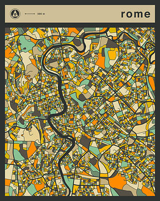 Rome Digital Art - Rome City Map by Jazzberry Blue