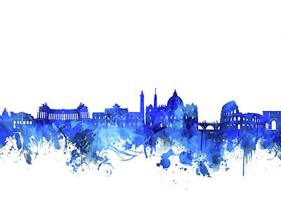 Digital Art - Rome City Skyline Watercolor Blue by Bekim Art