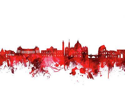 Digital Art - Rome City Skyline Wateroclor Red by Bekim Art